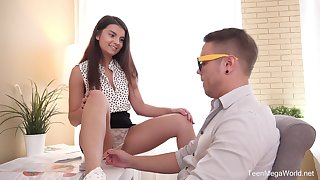 sweet angel Arianna gets the brush shaved pussy pounded by the brush swain on the wainscot