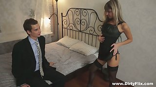 Microscopic blond student Gina Gerson serves her devise mates for pushy property