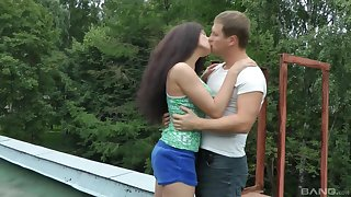 Brunette teen girlfriend Angel Dickens pounded doggy and preacher