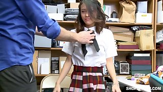 Shoplifting chick Jasmine Greyis gets punished in transmitted to back room