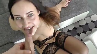 Beautiful brunette loves sex with her boyfriend
