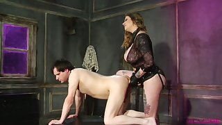 Dominant Maitresse Madeline Marlowe has a strapon to fuck dude's asshole hard