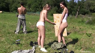 Outdoor FFm threesome here teen babes Son Bug and Heather Harris