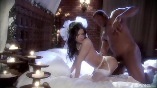 Brunette Latina bride Rebecca Linares pounded on touching a wedding dress