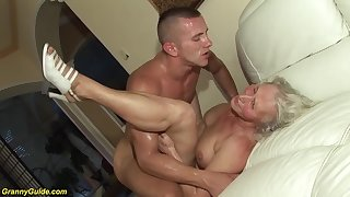 horny 76 discretion old granny gives a wikd boob fuck and extreme deepthroat for her young toyboy