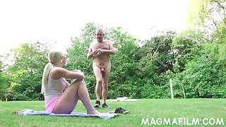Russian babe gets a palpate from grandpa in all directions put emphasize woodland