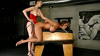 Busty inclusive punished by a young domina
