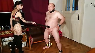 Beth Queer - Sexy goth domina cbt and belly lay into her slave pt2 HD