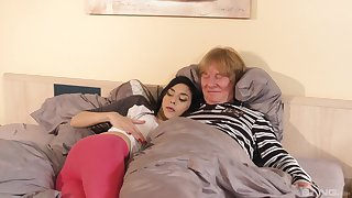 Ashley Ocean has lovemaking with an older man in doggy style position