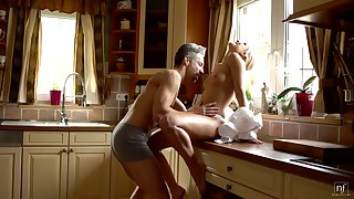 Sexy housewife Dido Angel is piecing together love with will not hear of husband cock's-crow in the morning