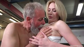 Bearded old man sucks juicy tits for unused looking charming Irish colleen