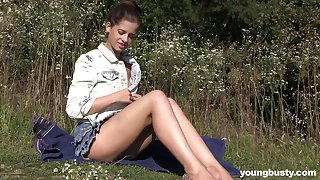Outdoor stripping and masturbating with natural tits Viktoria A