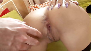Hard and Rough Anal Creampie Fuck with Big Black Dildo Teens