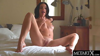 Glum brunette gets naked and rides her fingers doggy style